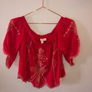 Tops - Red crop top with detailing